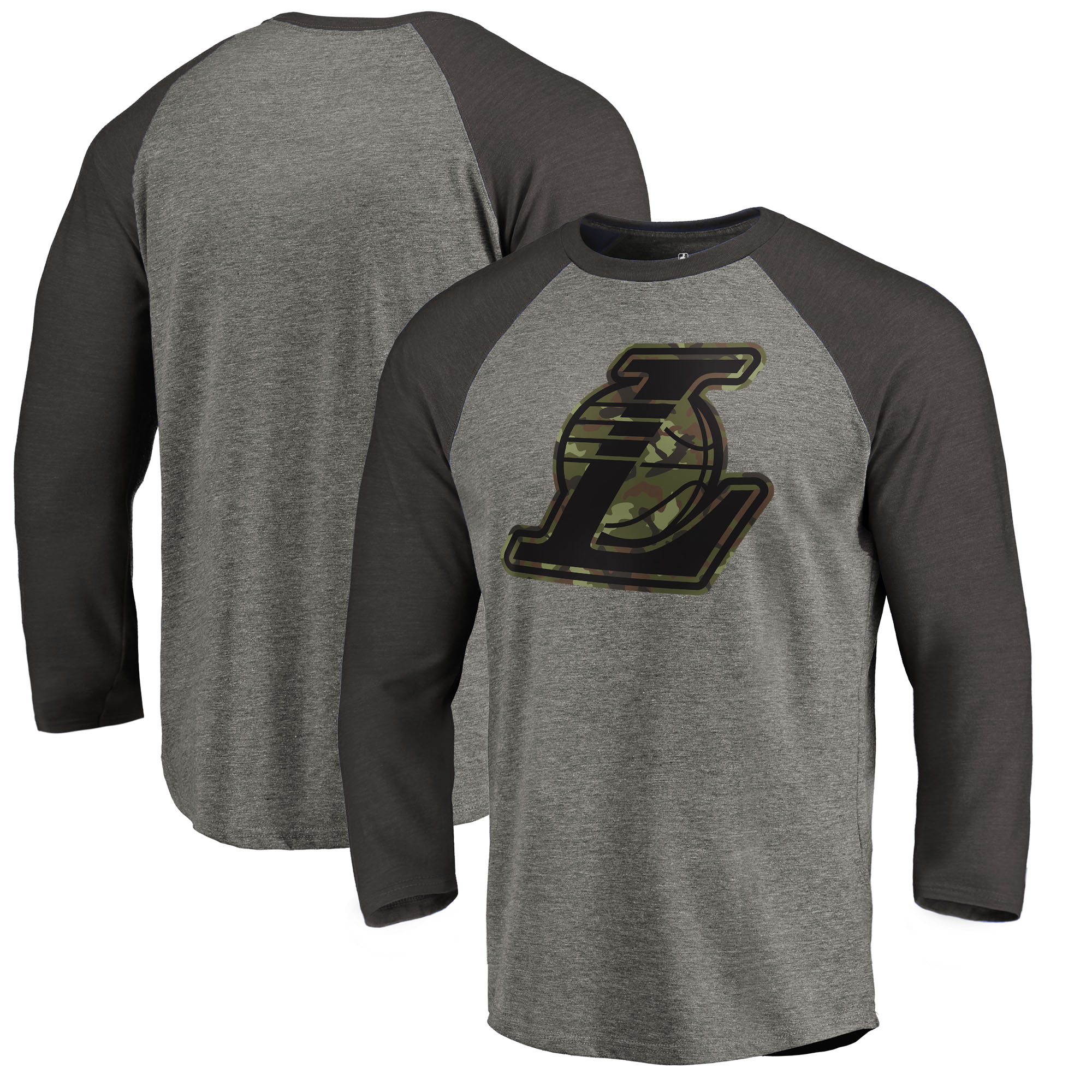 Los Angeles Lakers Fanatics Branded Camo Collection Prestige Raglan 3/4-Sleeve T-Shirt - Heathered Gray