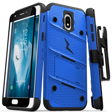 Grape Case (Zizo Bolt Series Compatible with Galaxy J7 2018 Case Military Grade Drop Tested with Tempered Glass Screen Protector Holster Galaxy J7 Refine J7 Star )