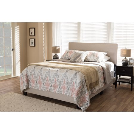 (Baxton Studio Hampton Light Beige Fabric Upholstered King Size Bed)