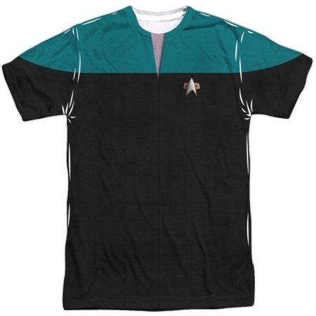 Star Trek Men's  Voyager Science Uniform Sublimation T-shirt White (Star Trek Voyager Uniform Colors)