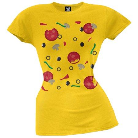 Pizza Costume Juniors T-Shirt](Halloween Brownie Pizza)