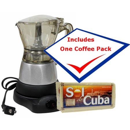 Electric Cuban Coffee Maker Adjustable 3 to 6 Cups Free Coffee Pack by Sol de Cuba (Clean Coffee Maker)