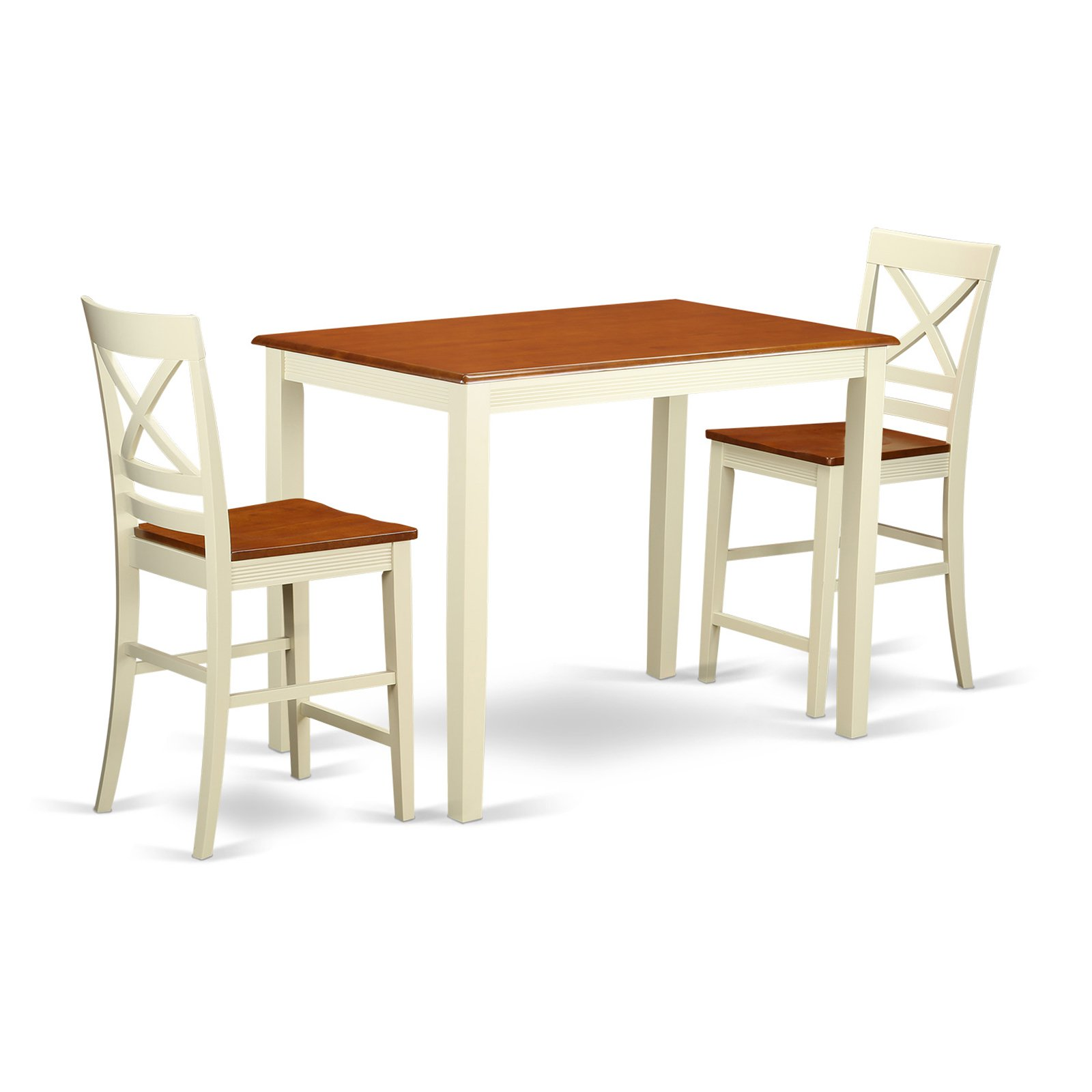 East West Furniture Yarmouth 3 Piece Cross-And-Ladder Dining Table Set