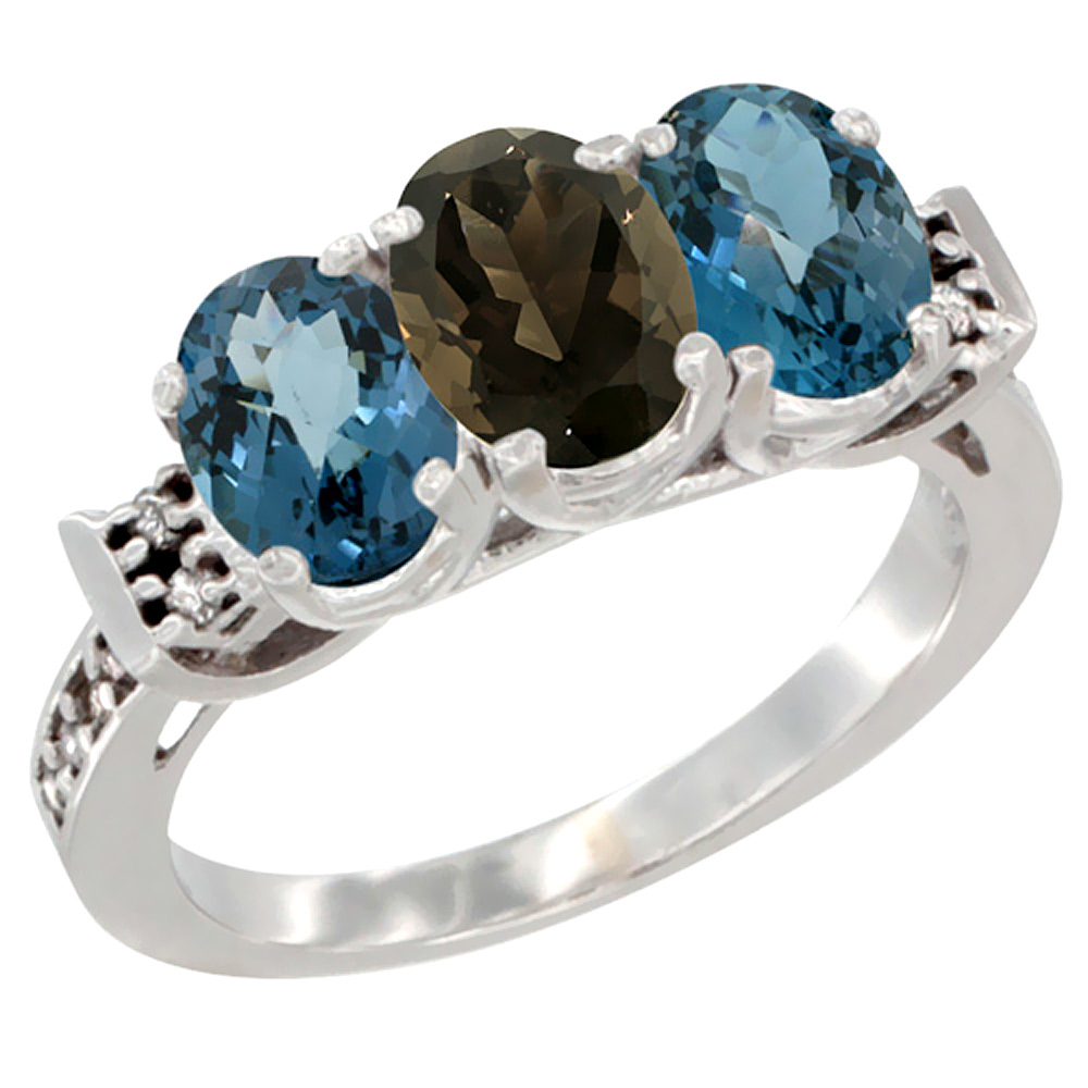 10K White Gold Natural Smoky Topaz & London Blue Topaz Sides Ring 3-Stone Oval 7x5 mm Diamond Accent, sizes 5 10 by WorldJewels