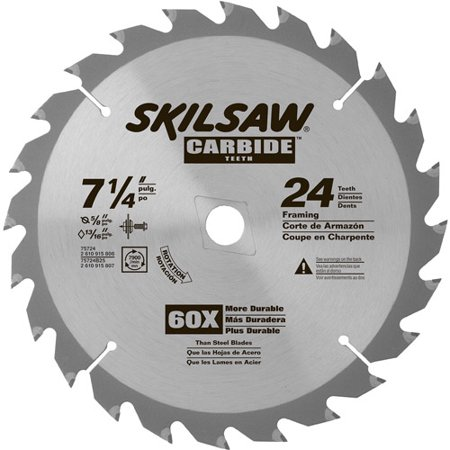 - SKIL 7-1/4-Inch 24-Tooth Carbide Tipped Saw Blade, 75724W