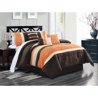 7-Pc Clio Triangle Meander Greek Key Embroidery Embossed ZigZag Herringbone Pleated Comforter Set Orange Brown Ivory Queen