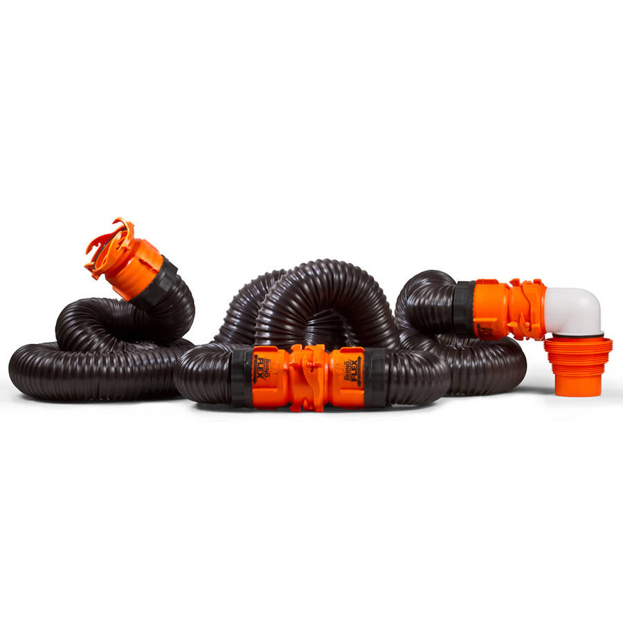 Camco RhinoFLEX 20ft RV Sewer Hose Kit, Includes Swivel Fitting and Translucent Elbow with 4-In-1 Dump Station Fitting, Storage Caps Included (39741)