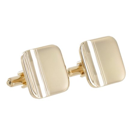 Gold Tone Rounded Square Etched Toggle Back Mens Cufflinks ()