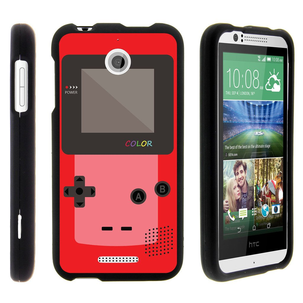 HTC Desire 510, [SNAP SHELL][Matte Black] 2 Piece Snap On Rubberized Hard Plastic Cell Phone Cover with Cool Designs - Red Gameboy Color
