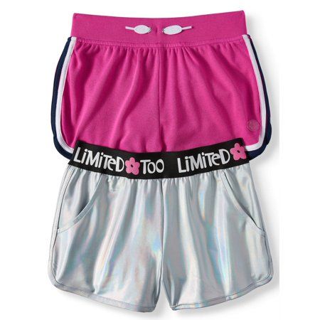 Limited Too Metallic and French Terry Shorts, 2-Pack (Big -