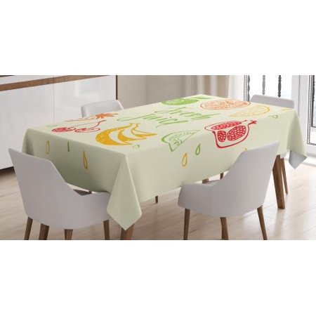 Fruit Tablecloth, Eco Themed Colorful Sketch Food Pomegranate Peach Lime Pattern on Cream Background, Rectangular Table Cover for Dining Room Kitchen, 60 X 84 Inches, Multicolor, by Ambesonne