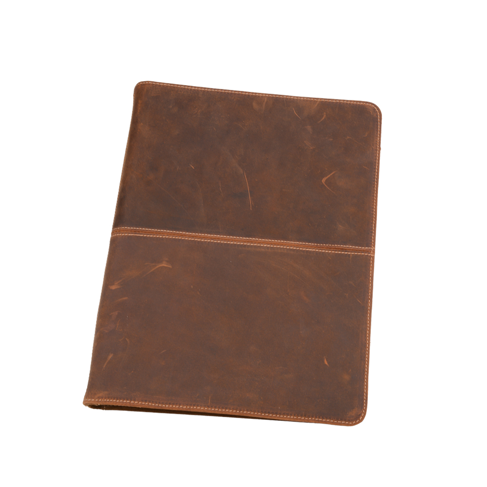 iCarryAlls Vintage Crazy Horse Leather Padfolio, with 3-R...