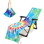 Mikilon Beach Chair Cover Printed Beach Towel Polyester Cotton Lounge Chair Towel