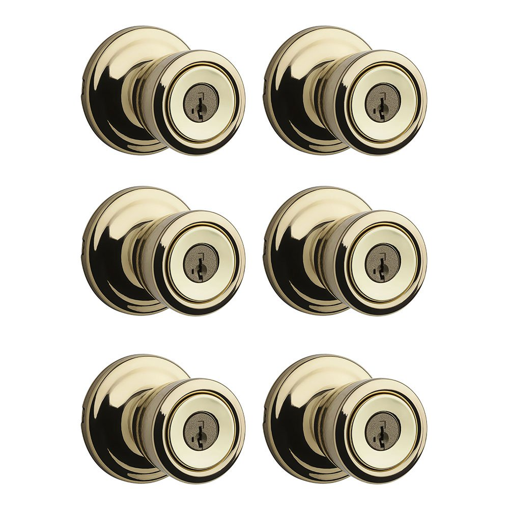 Kwikset Abbey Patio Porch Keyed Lock Handle Door Knob, Polished Brass (6 Pack)