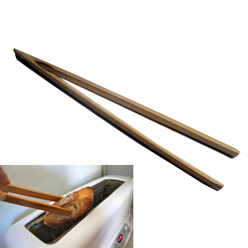 """12"""" Bamboo Wood Toast Tong Wooden Toaster Safe Bacon Bagel Kitchen Chopstick New"""