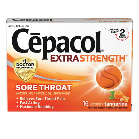 Cepacol Extra Strength Sore Throat & Cough Drop Lozenges, Tangerine,