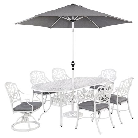 Home Styles Floral Blossom White 7pc Outdoor Dining Set with Oval Dining Table, 2 Swivel Chairs, 4 Arm Chairs and