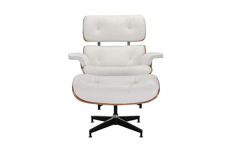 Mid Century Modern Swivel Lounge Chair And Ottoman White Walmart Com Walmart Com