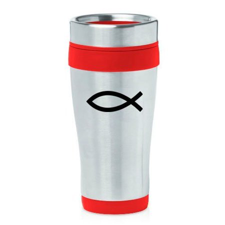 16oz Insulated Stainless Steel Travel Mug Christian Fish Symbol (Red),MIP