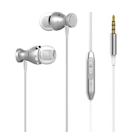 insten 3.5mm Metal Alloy Stereo In-Ear Headphone with Microphone Hands-free Headset (Crystal Clear Sound Noise Cancelling) for Cell phone -