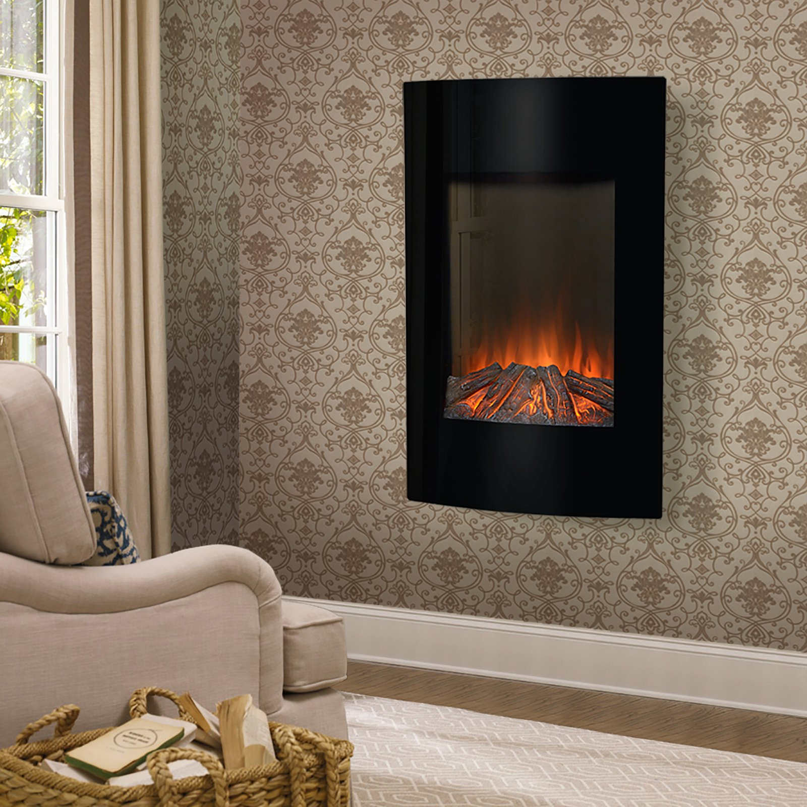 flamelux high wall mount electric fireplace black walmart com