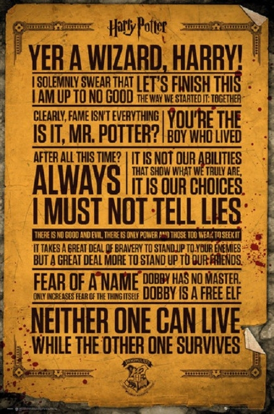 image relating to Printable Harry Potter Quotes named Harry Potter Estimates Poster Poster Print as a result of