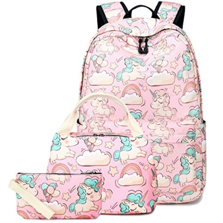 d40463c88f79 BLUBOON Backpack for School Girls Teens Bookbag Set Women Laptop Casual  Daypack Lunch Tote Bag Pencil Case PinkUnicorn Set