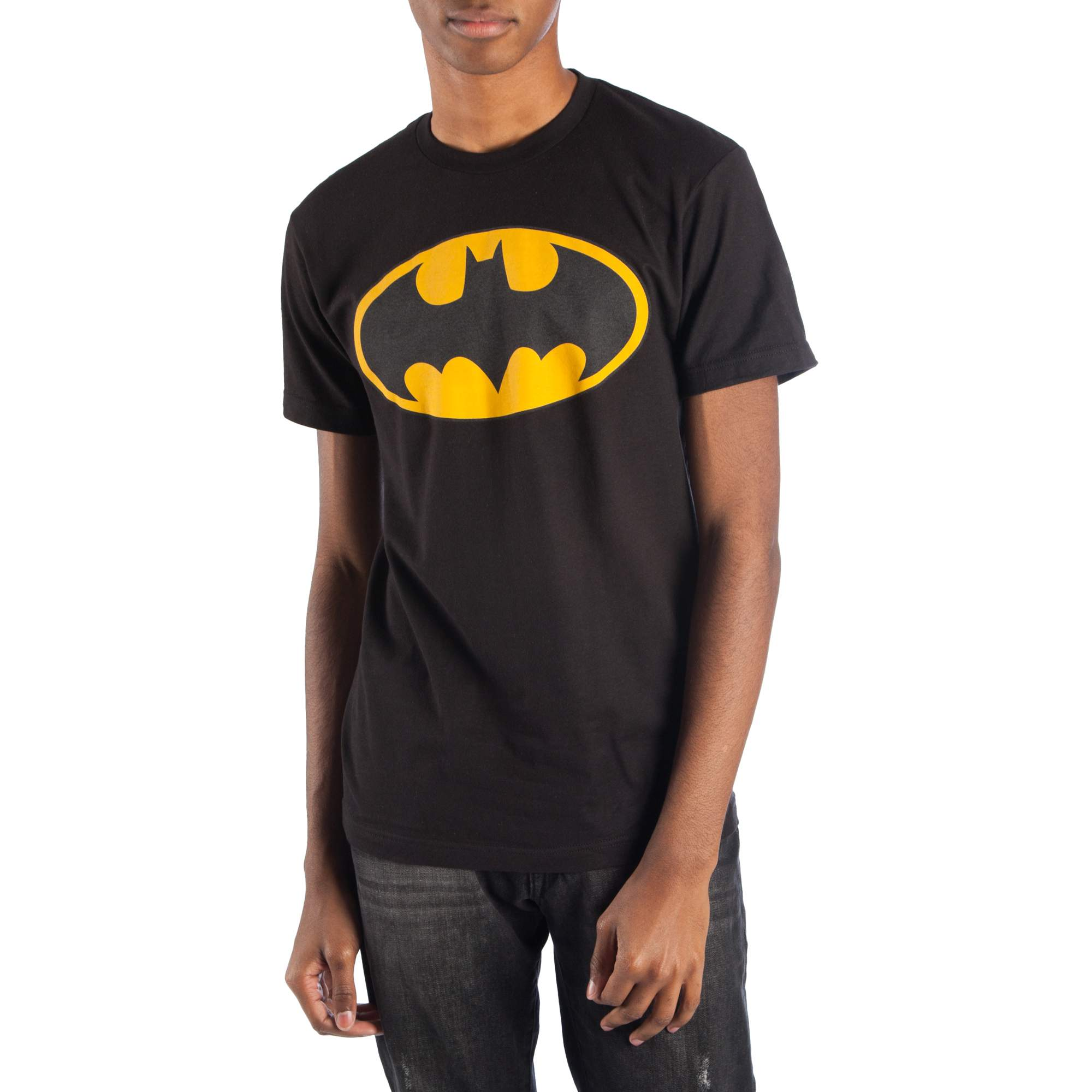 Big Men's Black DC Comics Reflective Batman Logo Short Sleeve Tee by Bioworld Merchandising