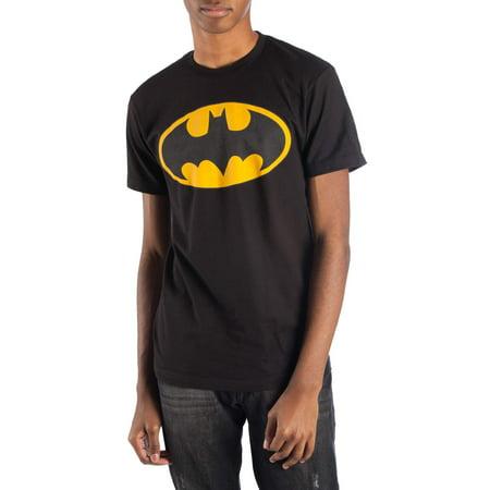 Big Men's black dc comics reflective batman logo short sleeve tee