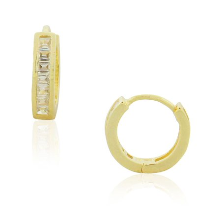 "925 Sterling Silver Yellow Gold-Tone Clear Baguette CZ Huggie Hoop Earrings, 0.35"""