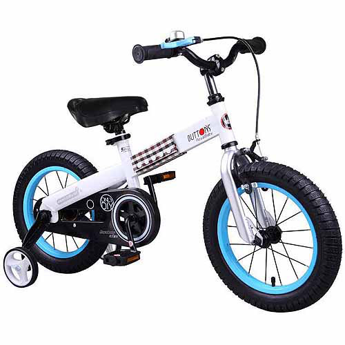 Royalbaby Button Kids' Bike with Training Wheels Perfect Gift for Kids. 16 Inch Wheels, Blue