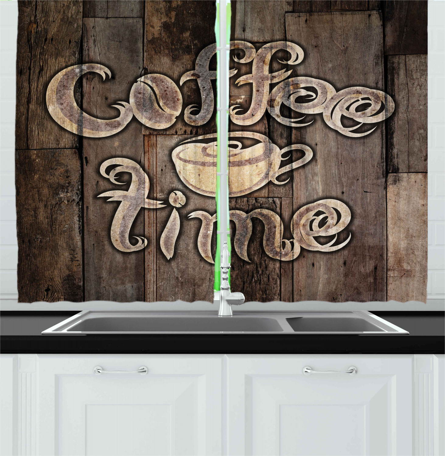 Modern Curtains 2 Panels Set, Coffee Time Phrase with a Cup on a ...