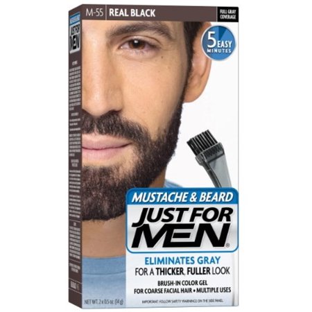 JUST FOR MEN Color Gel Mustache & Beard, M-55 Real Black 1