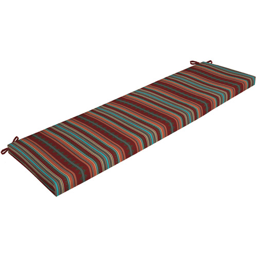 Mainstays Outdoor Bench Cushion, Brick Turquoise Stripe