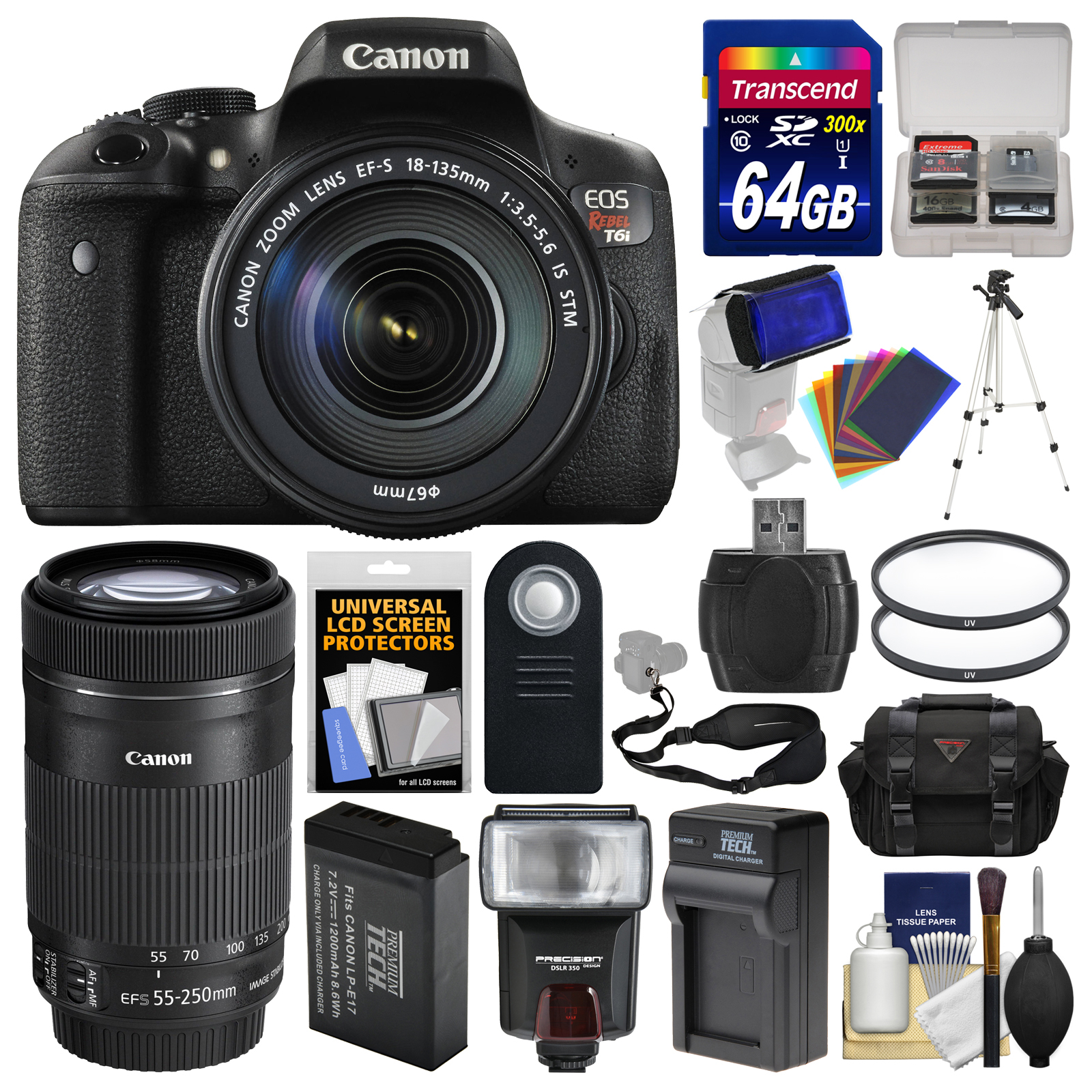 Canon EOS Rebel T6i Wi-Fi Digital SLR Camera & 18-135mm & 55-250