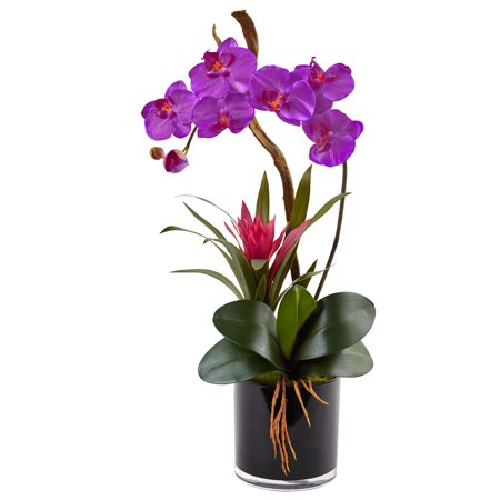 Faux Orchid Arrangement - Nearly Natural Orchid and Bromeliad Silk Arrangement in Glossy Black Cylinder Vase