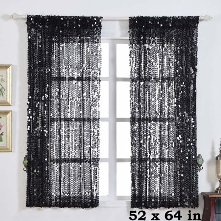 BalsaCircle 52 x 64-Inch Big Payette Sequin Curtains Drapes Panels Window Treatments - Home - Decoration Curtains