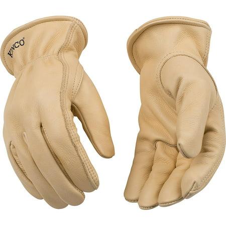 Kinco 98-XXL-1 Full grain cowhide, Easy-On cuff with elastic wrist, Ergonomic keystone thumb, Turned leather hem, Size: