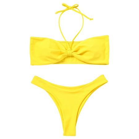 5f5d0e64f67 ZAFUL - Sexy Women Strapless Padded Bandeau Bikini Top High Waisted Bikini  Bottoms Set - Walmart.com