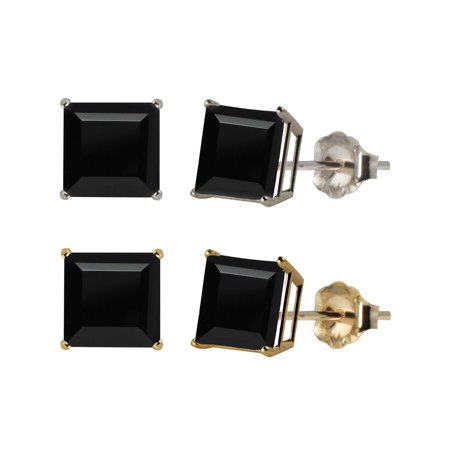 - 10k White or Yellow Gold 6mm Square Black Onyx Stud Earrings