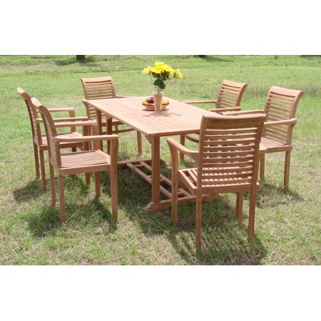table trestle legs and 6 mas stacking arm chairs outdoor patio grade