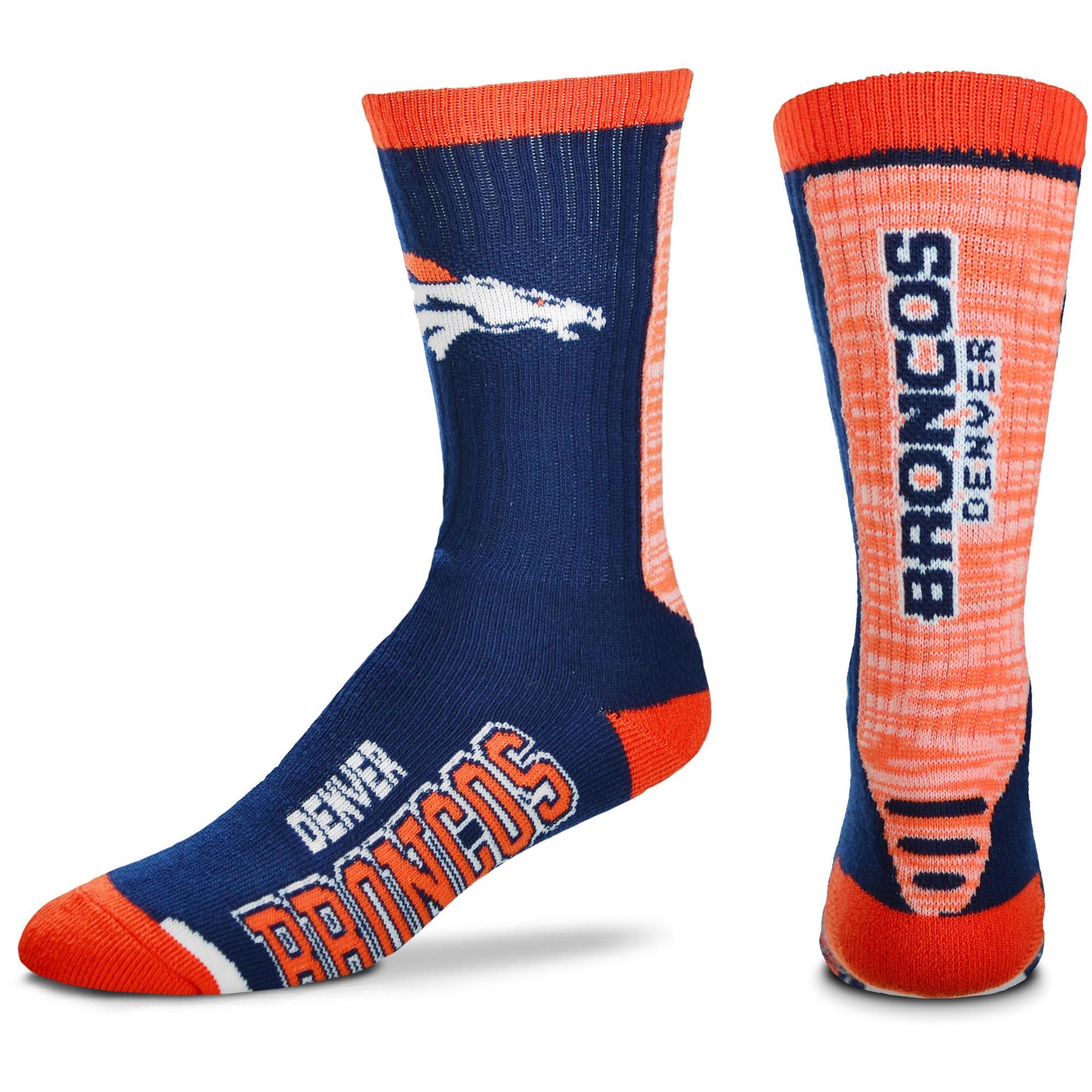Denver Broncos For Bare Feet Women's Jump Key Crew Socks - M