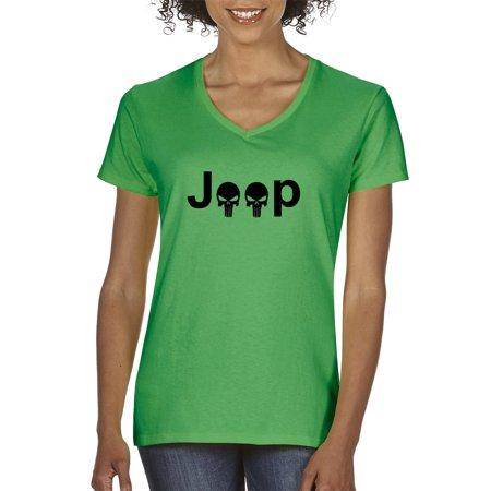 The Punisher Woman (New Way 1173 - Women's V-Neck T-Shirt Jeep Punisher Logo Skulls 2XL Kelly)