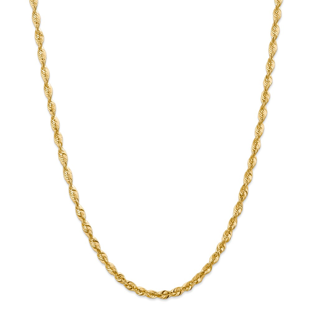 """14K Yellow Gold 47.25mm Diamond-Cut Extra-Light Rope Necklace Chain -18"""" (18in x 4.16mm)"""