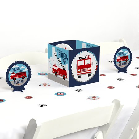 Fired Up Fire Truck - Firefighter Firetruck Baby Shower or Birthday Party Centerpiece and Table Decoration Kit