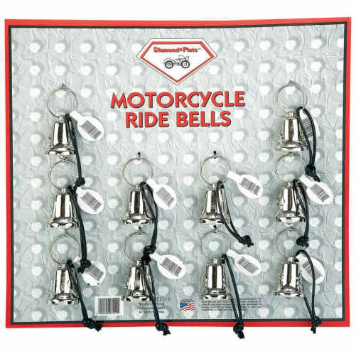 Maxam 10pc Motorcycle Bells on Display Card MOTORCYCLE BELL SET 10 PC SET