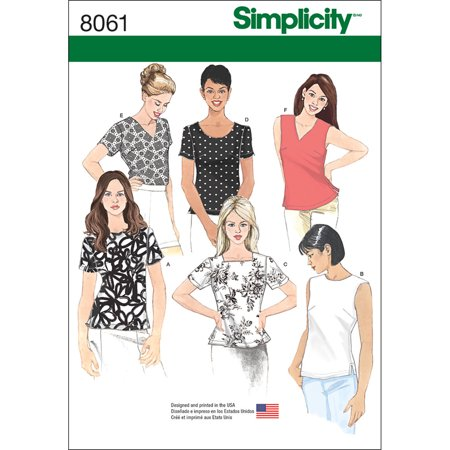 Simplicity Misses' Size 8-16 Tops Pattern, 1 Each Easy Free Sewing Patterns