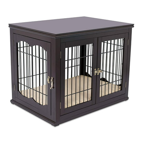 Internet's Best Decorative Dog Kennel with Pet Bed | Double Door | Wooden Wire Dog House | Large Indoor Pet Crate Side Table | (Best Indoor Family Dog)