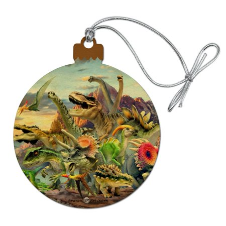 Dinosaurs Jurassic Dinosaurious Stampede Wood Christmas Tree Holiday Ornament - Dinosaur Ornament