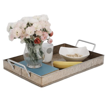 Mind Reader Cooper Plated Galvanized Serving Tray, Rectangular Serving Tray, Breakfast Tray, Butler Tray With Handles, Breakfast in Bed, Brown](Breakfast Bed Tray)